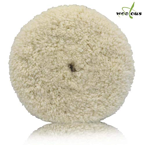 Woolous 7 inch Wool Buffing Pads,100% Natural Wool Double Side Compound Cutting and Polishing ()
