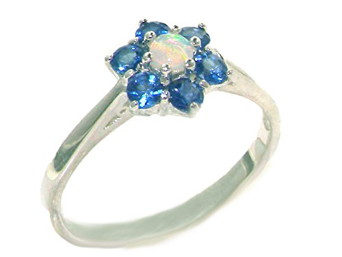 (925 Sterling Silver Natural Opal and Sapphire Womens Cluster Ring - Size 6.5)