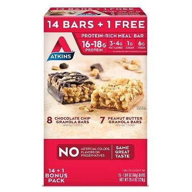 Atkins Meal Bars Variety Pack (14 1 Bonus Bar), 16-18g Protein Review