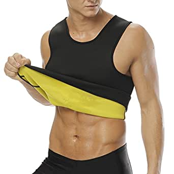 Men's Hot Sweat Slimming Neoprene Shirt Vest Body Shapers For Weight Loss No Zipper Black (Small)