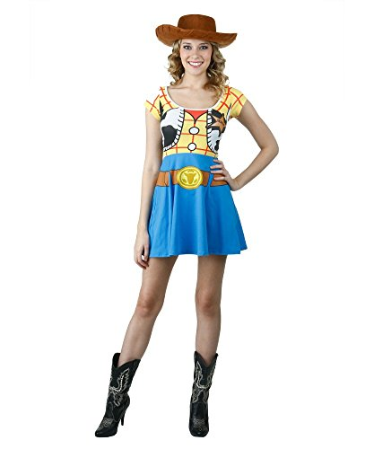 [I Am Woody Toy Story Disney Movie Mighty Fine Juniors Costume Skater Dress] (Buzz Lightyear Costumes Women)