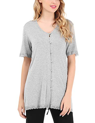 aeb0d16674 FISOUL Women s V Neck Short Sleeve Button Down Lace Sleepwear Nightgown T  Shirt Top