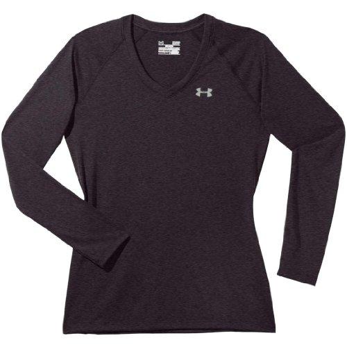 Under Armour 6591232504 UA Tech V-Neck T-Shirt for Ladies, Carbon Heather - Large