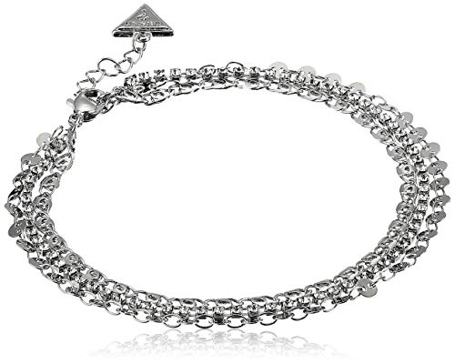 GUESS Women's Anklet Single with Stones, Silver, One Size ()
