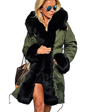 Roiii Women's Winter Faux Fur Hooded Plus Size Parka
