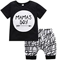 Baby Boys Summer Clothes Set Toddler Kids Newborn Mama's Boy Short Sleeve T-Shirt Tops+Shorts 2Pcs Out