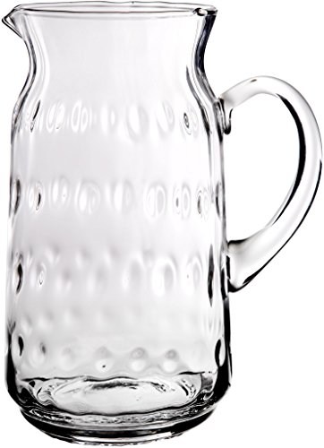Elegant And Durable 77 Oz. Hammered Glass Pitcher with Easy Pour Spout and Handle
