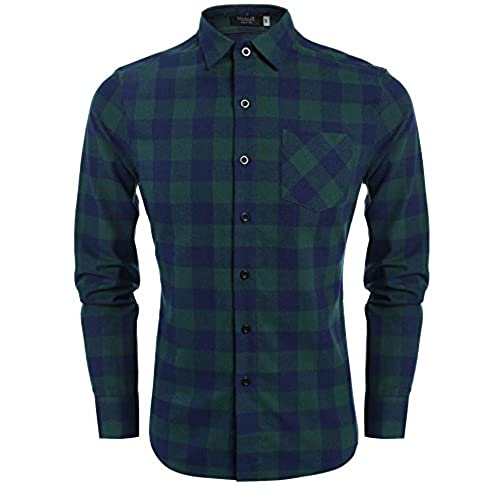 Men 39 s green flannel shirt for Athletic cut flannel shirts