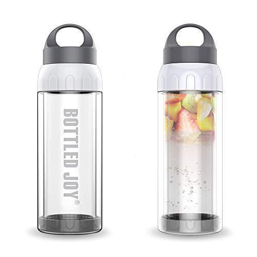 Bottled Joy Glass Water Bottle, Shatter-proof 16oz Leak-proof Lid Heat Insulated Reusable BPA-Free Smoothie Container Dishwasher Safe for Drinking Juice Beverage (16 Oz Water Bottle Bpa Free)