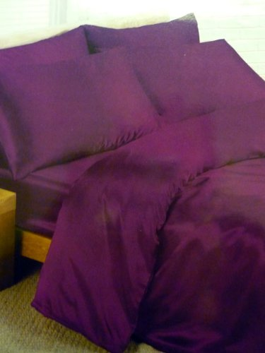 Fitted Sheet And 4 Pillowcases Bedding Purple Satin Double Duvet Cover