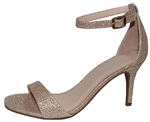 en's Open Toe Single Band Buckled Ankle Strap Stiletto High Heel Sandal,9 B(M) US,Champagne (Single Strap High Heel Shoe)