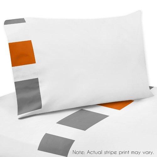 Sweet Jojo Designs 4-Piece Gray, Orange and White Queen Shee