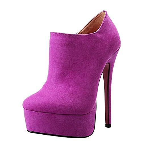 OCHENTA Stiefel Stiletto mit Plattenform-4CM und Absaetzen-15CM EU38,5-EU46,5 Violett EU 39,5/Asien 41 (Schuheleiste 26 cm)