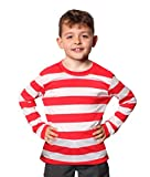 CHILDS RED AND WHITE STRIPED LONG SLEEVE T-SHIRT FANCY DRESS COSTUME TEE SHIRT ACCESSORY YEARS BOOK WEEK MEDIUM