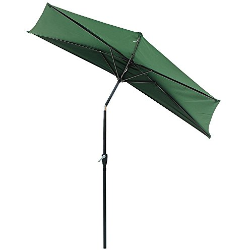 Yeshom 9 FT Green Outdoor Patio Half Umbrella 5 Ribs Tilt Aluminum Sun Shade with Base Stand Wall Balcony Door