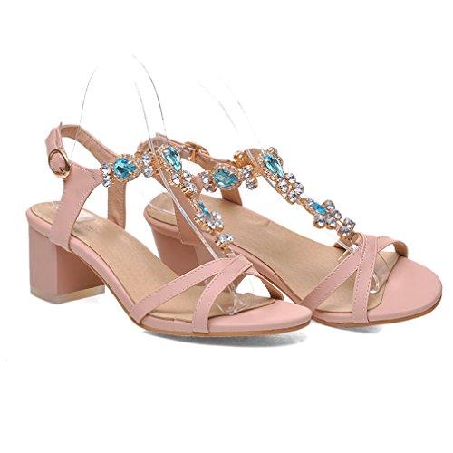 YE Damen T Strap Glitzer Sandalen Chunky Heels mit Strass und Schnalle Blockabsatz 6cm Bequem Schuhe Rosa