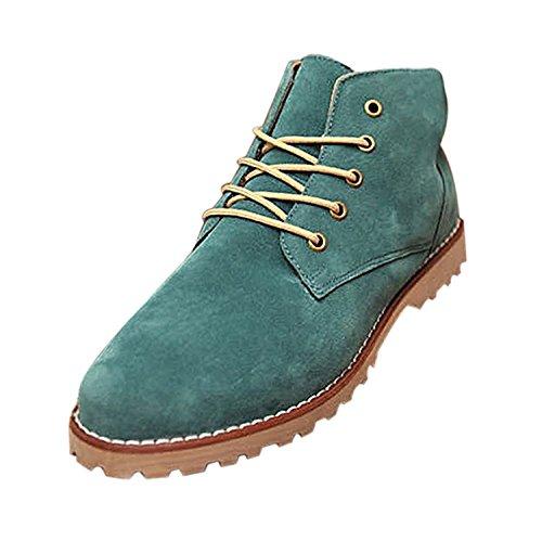 TOOGOO (R) Nueva moda britanicos para hombre Casual de encaje gamuza Botines Mocasines Zapatillas de deporte Verde ( Tamano:43 )