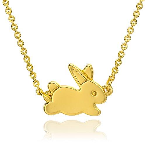 - ESCALIE Rabbit Pendant Necklace Bunny Necklace Gold