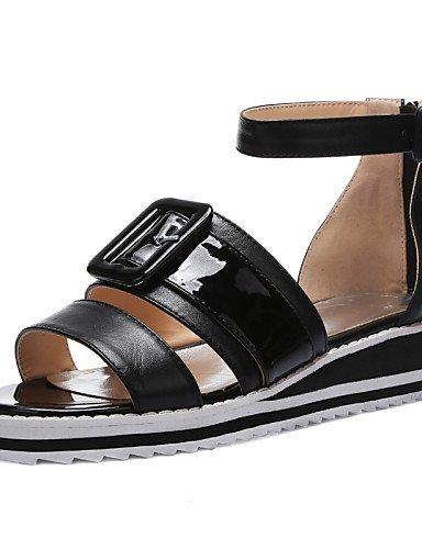 ShangYi Women's Shoes Cowhide Wedge Heel Wedges / Gladiator / Open Toe Sandals Casual Black / Yellow / White Black sL1HUz2