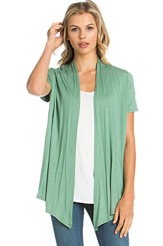 12 Ami Basic Solid Short Sleeve Open Front Cardigan Sage Medium