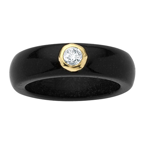 (Genuine Black Jade and White Bezel-Set Topaz Accent 10k Yellow Gold Ring Size 8)