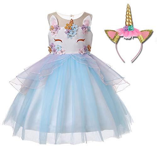 Freeprance Unicorn Costume Unicorn Party Dresses Princess Costumes for Girls 02_XBL_120 -