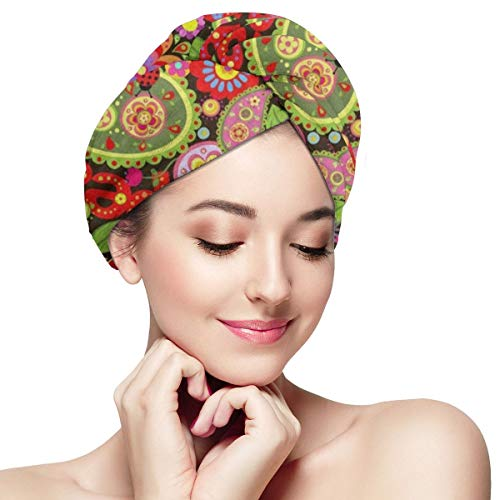 - Hair Towel Wrap Turban Colorful Flower Print Peace Sign Microfiber Hair Drying Cap with Buttons for Women