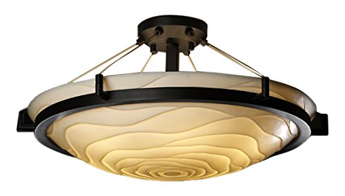 Semi Flush 24 - Justice Design Group Porcelina 6-Light Semi-Flush - Dark Bronze Finish with Waves Faux Porcelain Resin Shade