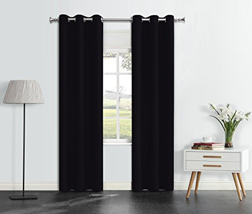 Drapery Panel Set - Onlyyou Thermal Blackout Curtains, Wide Width Grommet Top Insulated Drapes, Room Darkening Drapery panel for Bedroom, Living Room, Kids Room - Set of 2 Panels 42 x 63 Inch, Black