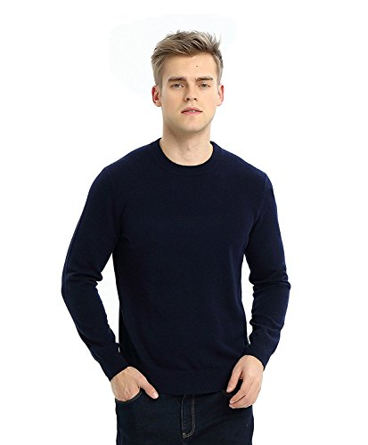 - MIUK 2017 New Mens 100% Cashmere Basic Sweater Round Neck Simple Warm Pullovers Navy XL
