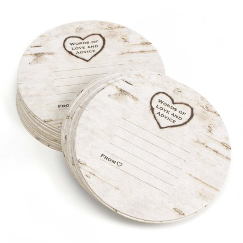 Personalized Wedding Coasters (Hortense B Hewitt Wood Grain Design Words of Advice Coasters, Set of 25)