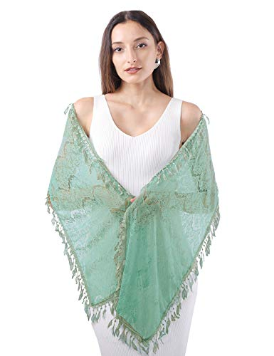 MissShorthair Floral Print Lace Scarfs for Women with Fringes Green Luck Leaf