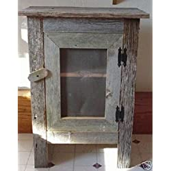 Amish Country Collectible Handmade Primitive Rustic Country Decor Small Barn Wood Screened Front Cabinet - 29 Inches Tall. Simple, Yet Striking, It Is Crafted Out of Aged and Weathered Barnwood That Is Practical and Destined to Become an Heirloom. Barnwood Color May Vary According to Availability.