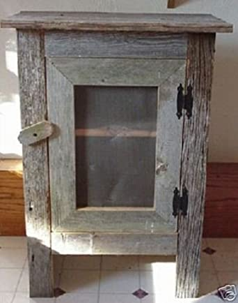 Charming Amish Country Collectible Handmade Primitive Rustic Country Decor Small  Barn Wood Screened Front Cabinet   29