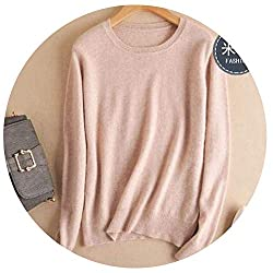 Autumn Winter Cashmere Cotton Blended Knitted Women Sweaters And Pullovers Jersey Medium Khaki