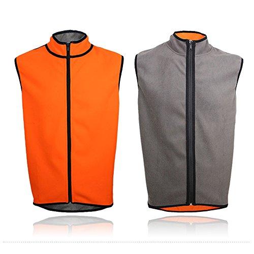 Outdoor Running Cycling MTB Sport Men Fleece Warm Two-Way Vest RK032 Orange+Grey XXL