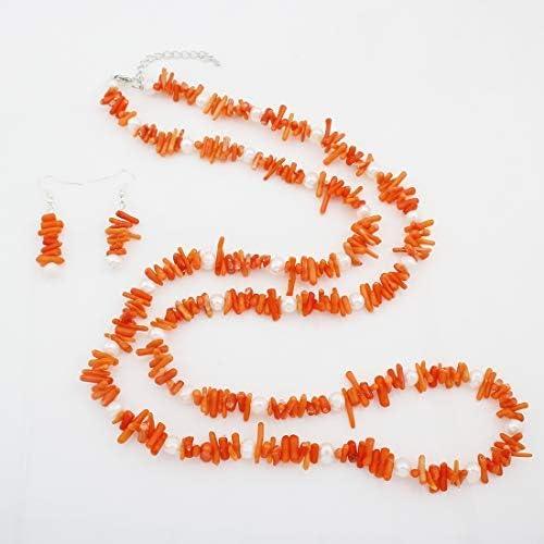 TreasureBay - Juego de collar y pendientes de perlas de coral y agua dulce, color naranja natural, para mujer