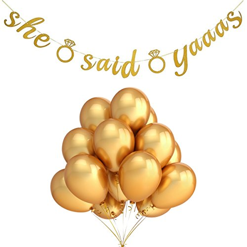 50Pcs 12 Inches Gold Color Latex Balloons and Gold Felt Glitter She Said Yaaas Banner,For Engagement,Bachelorette,Bridal Shower,Wedding Party Decorations