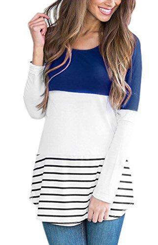 Yidarton Manga larga De Las Mujeres Camiseta Raya De Encaje Blusas Azul