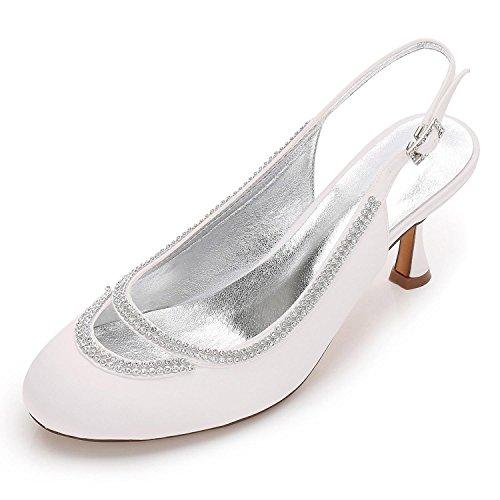 Cerrado F17061 Ivory Mujeres boda Diamantes Del Satinado Noche Zapatos 29 De Las L Personalizados Pie Bombas Chunky Boda yc Dedo Imitación qwX0RBA