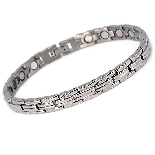 Novoa Titanium Elegant Magnetic Bracelet w/Strong Rare Earth Neodymium Magnets - Magnetic Therapy for Pain Relief - Therapeutic Magnetic Bracelet #A8211S