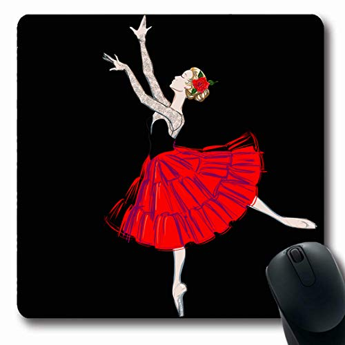 - Ahawoso Mousepads Artistic Ballerina Puff Costume Red Rose Nouveau Painting Ballet Dancer Design Oblong Shape 7.9 x 9.5 Inches Non-Slip Gaming Mouse Pad Rubber Oblong Mat