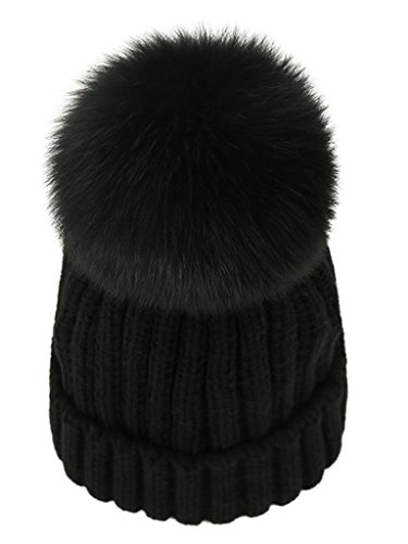 LITHER Womens Girls Winter Fur Hat Real Large Fox Fur Pom Pom Beanie Winter Hats