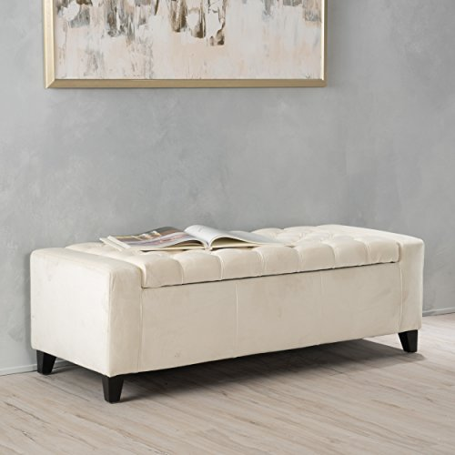 "Christopher Knight Home 299245 Living Seattle Ivory New Velvet Tufted Storage Ottoman, 19.75""D x 50.00""W x 17.48""H"