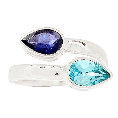 Xtremegems Blue Topaz & Iolite 925 Sterling Silver Ring Jewelry Size 8 (Iolite Topaz Bracelet)
