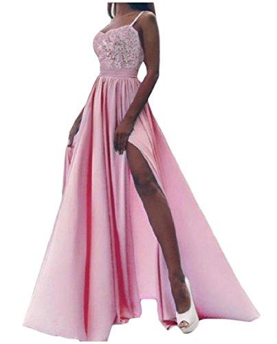 Coolred-femmes Dentelle Florale Robe De Princesse Taille Empire Swing Big Fendu Rose Robe De Soirée