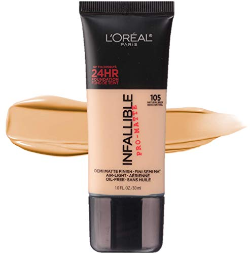 Finishes 105 (L'Oréal Paris Makeup Infallible Pro-Matte Foundation, 105 Natural Beige, 1 fl. oz.)
