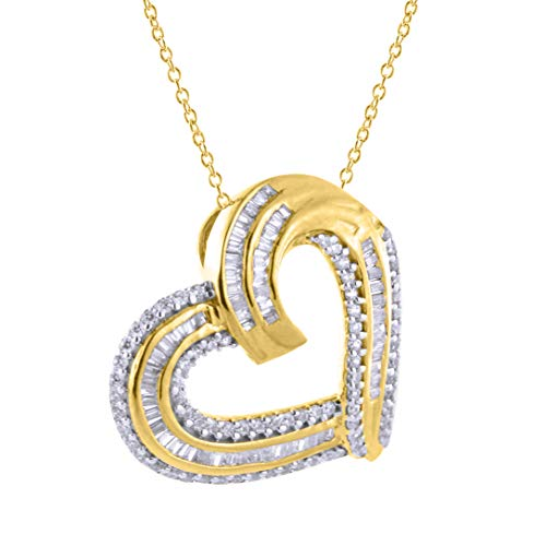 (Diamond Scotch 0.36 Ct Round and Baguette Cubic Zirconia Heart Pendant Necklace in 14K Yellow Gold Over, 18 inch)