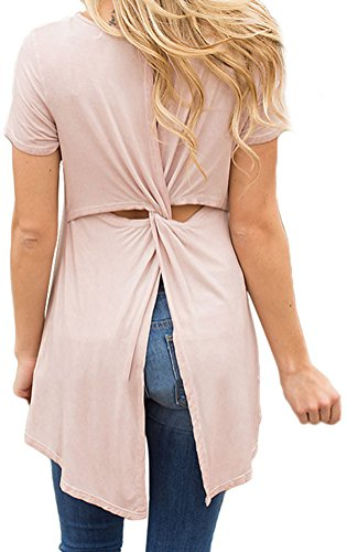 YeeATZ Peachy Twist Cutout Back Casual Womens T-shirt