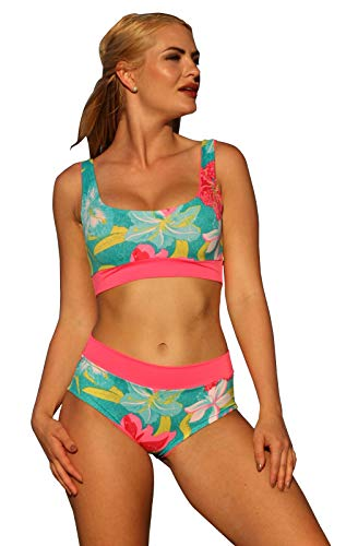(UjENA Easee Fit Reversable Action Cabana Bikini Top Only: Large)